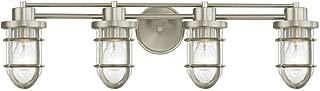 Seeded Glass Bathroom Light Satin Nickel Cage 4 Lt