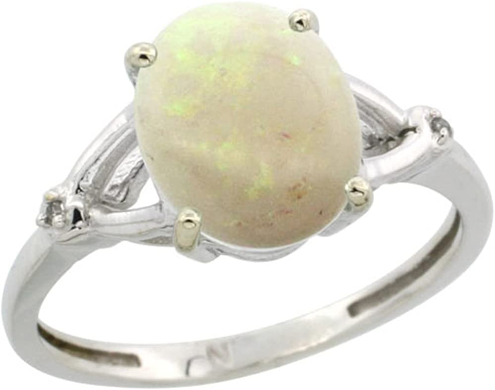 Sterling 2021 autumn and winter new Silver Diamond 10x8mm Oval Ring Natural Kansas City Mall Engagement Opal