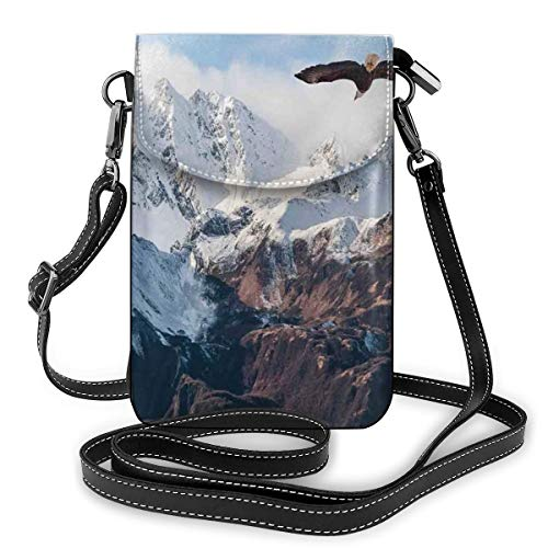 Women Small Cell Phone Purse Crossbody,Frozen Peaks Tops Of The Mountain With A Flying Eagle Free In Nature Photo