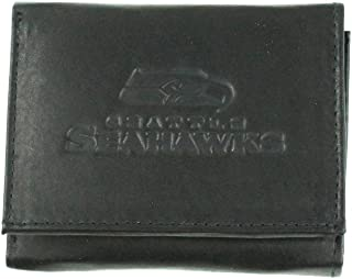 Rico Mens NFL Pittsburgh Steelers Tri-Fold Leather Wallet, Black 094746574796-P