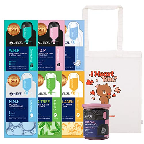 MEDIHEAL OFFICIAL DELUXE SET 6 Best Mask Sheet Combo Pack Total 60 Sheet (N.M.F, Tea Tree, W.H.P, Collagen, D.N.A, H.D.P) + Line Friends Tote Bag + Bubble Cleansing Pads 20 Pads