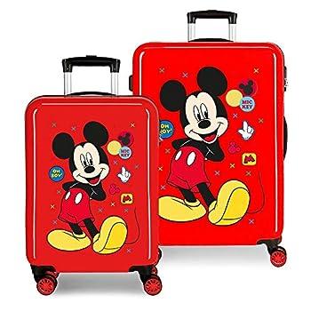 Disney Mickey Enjoy the Day Set de Bagages Rouge 55/68 cms Rigide ABS Serrure à combinaison 104L 4 roues doubles Bagage à main