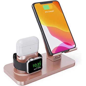 Charging Stand for Apple Watch Series 5/4/3/2/1,3in1 Stand Dock Station Holder for Airpods 2/1/Pro, Rotation Desktop Stand Charger for iPhone 11 Pro Max/Xs Max/Xs/Xr/X/8/8Plus iPad Tablet (Rose Gold)