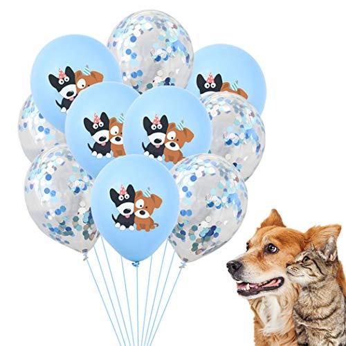 Legendog 10 PièCes 12in Pet Anniversaire Ballon Dessin Animé FêTe Ballon Chien Anniversaire Fournitures Confettis Ballon