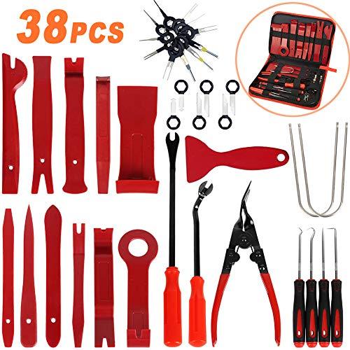 AOXNRFA 38 Pcs Herramientas de Desmontaje para Desmontar el Salpicadero Radio de Coche y Extraer Tapicerías de Vehículos Herramientas Kits