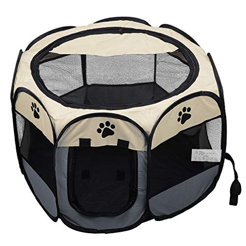 Coolty Tragbares, faltbares Haustier-Laufstall, 8 Paneele, Haustierzelt für Hunde, Katzen, Kaninchen und kleine Tiere, 73 x 73 x 43 cm (Beige + Grau)