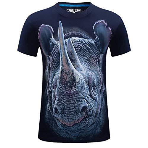 Xmiral T-Shirt Herren Sommer 3D Gedruckte Beiläufige Kurzarmshirt Kurze Hülse Großes Größe Rundhals T-Shirt(e Dunkelblau,5XL)