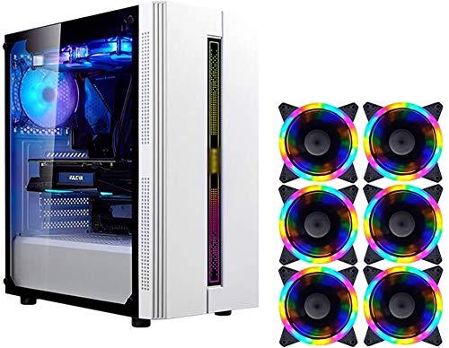 Wyl PC Gaming IR? Uso, Mid Tower ATX/M-ATX/ITX PC Caja de computadora, Lado Transparente, Configurar Fan Colorido, para computadora de computadora PC (Color : White, Size : 6 Fan)