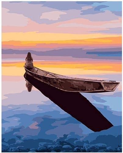LIWeißKY Sunset Boat DIY Malen Nach Zahlen Meer Malerei & Kalligraphie Einzigartiges Geschenk Für Wohnzimmer Landschaft Home Decor , Mit Rahmen, 50x60cm