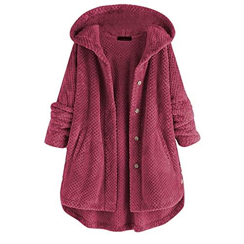 Y.H Abrigos de mujer Chaquetas de punto Otoño e Invierno con capucha de doble cara suéter de lana Abrigo Abrigos de invierno Mujeres, Vino, L