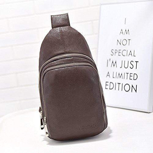Version cor¨¦enne de poitrine sac fashion ext¨¦rieure unique diagonale sac ¨¤ bandouli¨¨re la nouvelle casual hommes . dark brown