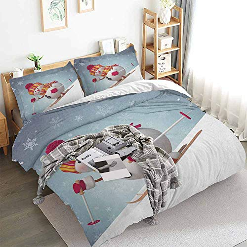 Aishare Store Snowman Duvet Cover Set,Skiing Snowman in 3D Style with Ornate Snowflakes Winter Outdoors Activity Fun,Decorative 3 Piece Bedding Set with 2 Pillow Shams,Queen(90'x90') Multicolor