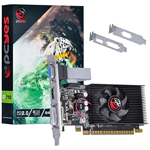 Placa De Video Nvidia Geforce Gt 710 2Gb Ddr3 64 Bits Com Kit Low Profile Incluso - Pa710Gt6402D3Lp, PCYES, 30676