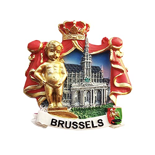 Bruselas Bélgica Landmark 3D Imán para nevera regalo de recuerdo, hecho a mano para decoración del hogar y la cocina Bruselas colección de imanes