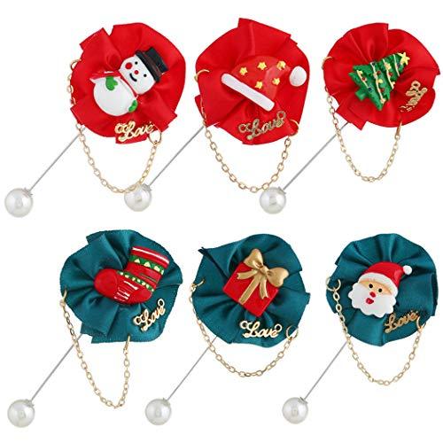 FunPa kerstdecoratie 6 stuks Kerstmis broche mode decoratieve verschillende speld corsage broche