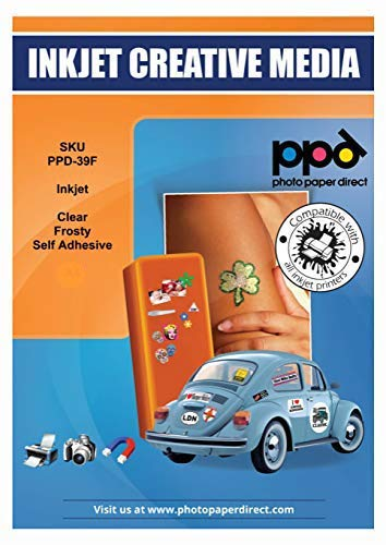 PPD A4 x 5 Blatt Inkjet Bedruckbare PREMIUM Klebefolie Gefrostet / Semi-Transparent ideal als Fensterfolie - Glasfolie - Dekofolie PPD-39F-5