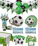 Fußball Party Set für 12 Gäste 154 Teiliges mit Tellern, Tassen, Servietten, Löffeln, Messern, Gabeln, Einladungskarten, Tischtüchern, Bannern, Geschenktüten und Luftballons für...