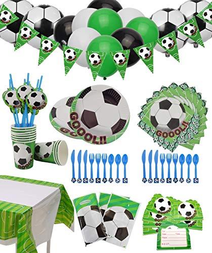 Fußball Party Set für 12 Gäste 154 Teiliges mit Tellern, Tassen, Servietten, Löffeln, Messern, Gabeln, Einladungskarten, Tischtüchern, Bannern, Geschenktüten und Luftballons für Kindergeburtstag