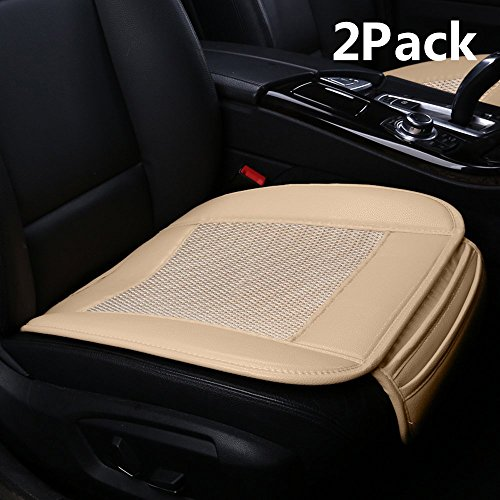 Suninbox Car Seat Covers,Ice Silk Car Seat Cushion Covers Pad Mat[carbonized Leather] Ventilated Breathable Comfortable Interior Seat Covers, Anti-Skid Four Seasons General (Beige 2PC Front Seat)