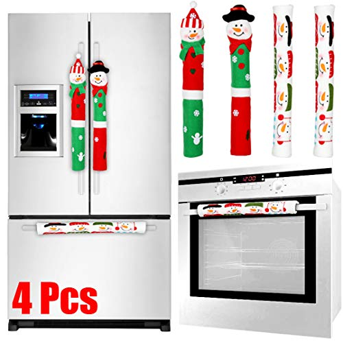 Tonak Refrigerator Handle Covers Christmas Decorations For Kitchen Appliance Oven Door Handle Xmas Decor Ornaments Snowman Set Of 4