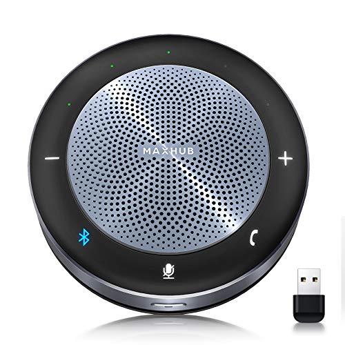 MAXHUB ワイヤレススピーカーフォン web遠隔会議用マイクスピーカーフォン 双方向通話 360˚全方向集音 ワイヤレス充電機能 最大10人まで対応 エコー・ノイズのキャンセリング 高音質 LED指示 USB/Bluetooth/AUX対応 オンライン会議 テレワーク 在宅 PCマイク Skype/zoom/Facetime/Wechat通話アプリ対応 BM21
