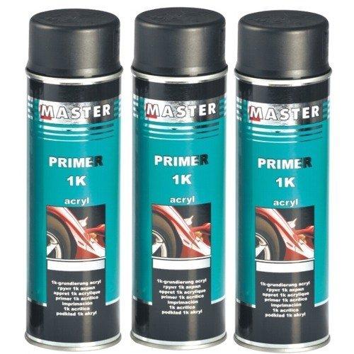 Troton 1K Primer 500ml GRUNDIERUNG Spray ACRYL FÜLLER HAFTGRUND Auto Primer Sprühdose (Schwarz, 3)