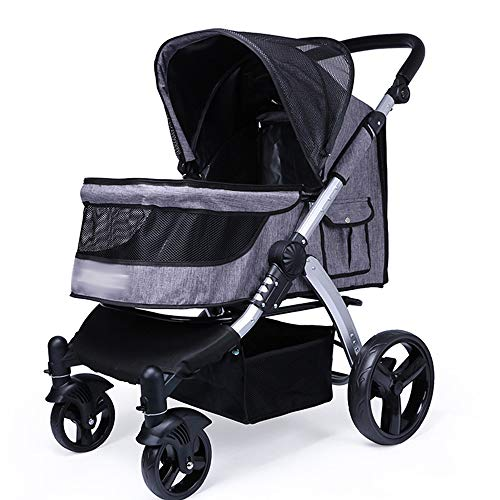 Large Pet Stroller - Luxury Pet Stroller for Puppy, Senior Dog or Cat | Easy Foldable 4 Wheels Travel Pet Jogger max,Gray