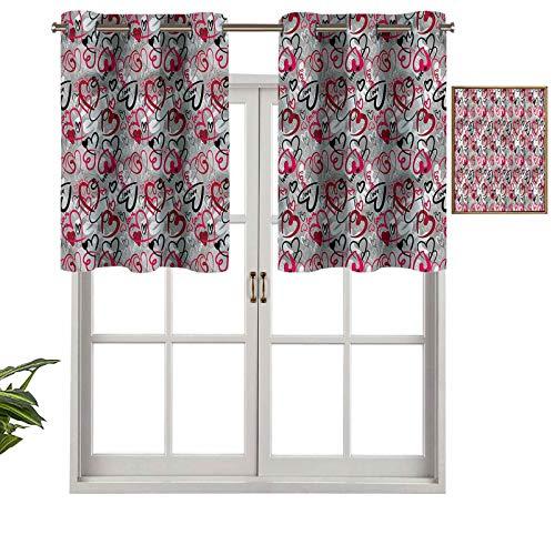 Hiiiman Cenefa de cortina para ventana de privacidad interior, diseño de corazones al azar, juego de 2, 42 x 24 pulgadas para puerta corredera de patio o comedor