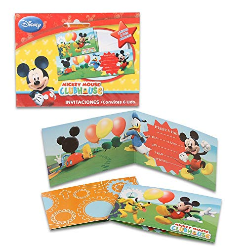 ALMACENESADAN 68314 Pack 6 Invitaciones Disney Mickey Mouse, sin sobre. Invitaciones para Fiestas y cumpleaños