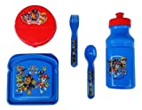 5 Piece Paw Patrol Lunch Set - Sandwich Storage, Flip-top Snack Container, Pull-up Water Bottle, Fork & Spoon