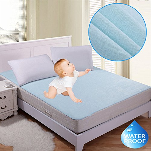 """RIte Clique Babycare 100 % Waterproof Mattress Protector Double Bed King Size Cover (Blue, 72""""X78""""X Elastic Strap 5"""")"""