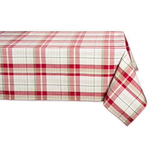"""DII Orcchard Plaid Square Tablecloth, 100% Cotton with 1/2"""" Hem for Holiday, Family Gatherings, & Christmas Dinner (52x52"""" - Seats 4)"""