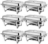 Rectangular Chafing Dish Full Size Chafer Dish Set 4 Pack of 8 Quart Stainless Steel Frame Chafers (6)