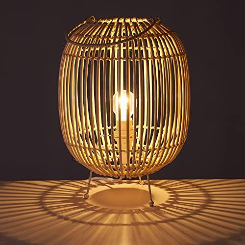 TIENDA EURASIA® Lámpara de Mesa Estilo Nórdico - Estructura de Metal y Varas de Ratán 22,50 x 22,50 x 30,50 cm