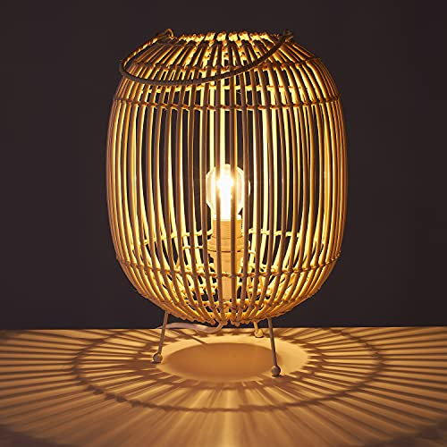 TIENDA EURASIA Lámpara de Mesa Estilo Nórdico - Estructura de Metal y Varas de Ratán 22,50 x 22,50 x 30,50 cm