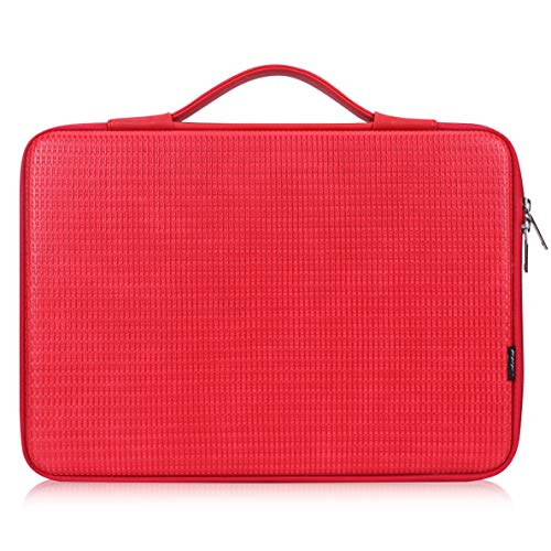 FYY 12'-13.3' [Waterproof Leather] [Solid Hard Shape] Laptop Sleeve Bag Case with Inner Tuck Net Fits All 12-13.3 Inches Laptops, Notebook, MacBook Air/Pro, Tablet, iPad Red
