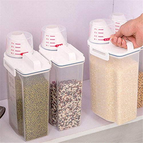 Recipiente de Almacenamiento Sellado para la Cocina Barriles de Almacenamiento a Prueba de Humedad Harina Contenedor de Almacenamiento de arroz y Especias (Transparente)