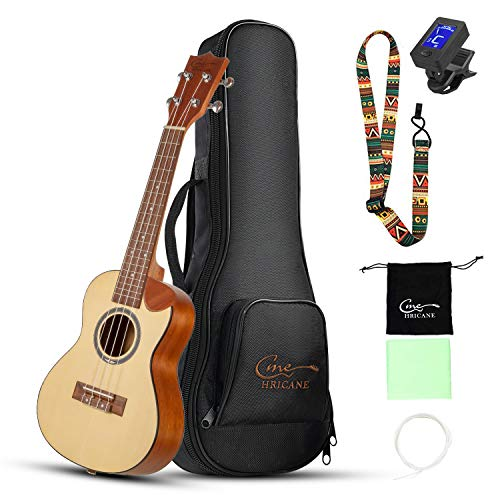 Hricane Concert Ukulele 23 Inch Cutway Uke - Spruce Top Sapele Back and Side Hawaii Ukelele Set for Beginners with Bag, Digital Tuner, Strap, 4 Strings Set, Pick, Cleaning Cloth