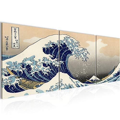 Bilder Japan Welle Wandbild 120 x 40 cm Vlies - Leinwand Bild XXL Format Wandbilder Wohnung Deko Kunstdrucke - MADE IN GERMANY - Fertig zum Aufhängen 850033a
