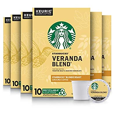 Starbucks Blonde Roast K-Cup Coffee Pods — Veranda Blend for Keurig Brewers — 6 boxes (60 pods total)