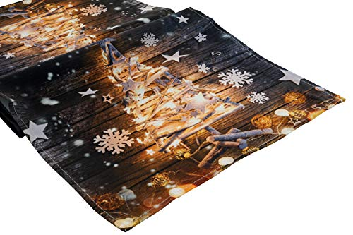 khevga Tischläufer Weihnachten Weihnachtsbaum 140 x 40 cm