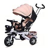 DBSCD Trikes for Toddlers, Tricycle pour Enfants 4 en 1 Pliant Le bébé avec auvent réglable et siège pivotant, Hauteur réglable pour Les 1-6 Ans, Kaki