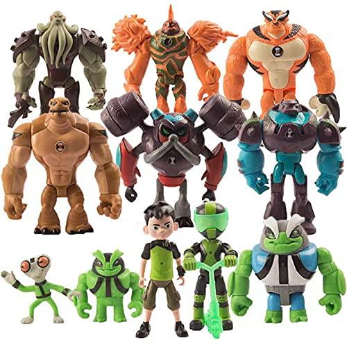 Ben 10 5'' Action Figure Toys for Kid's Gift, Ben 10 Toys / 11Pcs Set(Ben,Grey Matter,Rath,Hot Shot,Slapback,Armored Shock Rock,Vilgax,Humungousaur,Rustbuggy Ben,Omni-Enhanced Overflow)