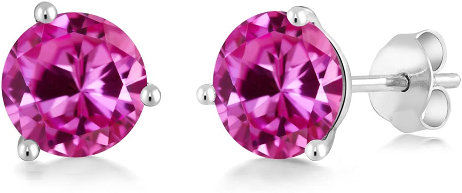 Gem Stone King 2.00 Ct Round 6mm Pink Created Sapphire 14K White gold Martini Stud Earrings