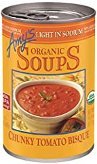 Twelve 14.5 oz. non-BPA cans of Amy's Organic Light in Sodium Chunky Tomato Bisque Soup that the whole family will love Chunks of organic vine-ripened tomatoes in a smooth, creamy tomato base A truly full-flavored, crave-worthy bisque that has 50% le...