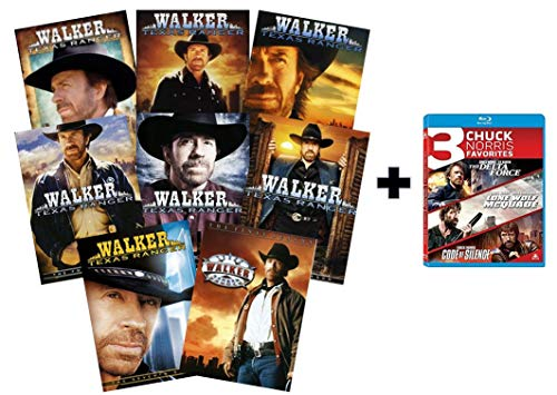 Walker, Texas Ranger: The Complete Series DVD Set + Chuck Norris 3-Movie Blu-ray Collection (Seasons 1, 2, 3, 4, 5, 6, 7, 8 + Delta Force / Lone Wolf McQuade / Code of Silence)