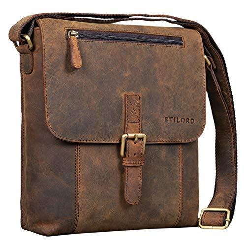 STILORD  Matthias  Borsello in pelle Borsa a tracolla da uomo in cuoio vintage Piccola borsa messenger porta tablet e iPad da 10.1 pollici di vera pelle, Colore:colorado - marrone