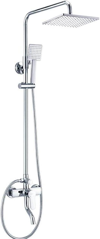 HUASA Duschset, Alle Kupfer, Quadratische Dusche, Kann heruntergehoben Werden