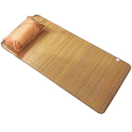 Estera de bambú de Doble Cara, colchón de Verano Plegable de Verano Fresco Almohadilla para Dormir Estudiante colchón Individual Topper