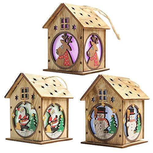 WeyTy Christbaumanhänger, LED-Leuchten Holzschmuck - DIY Basteln Holz Deko zum Aufhängen für die Weihnachtsferien, Schöne Holzhausdekorationen, Christbaumschmuck(3 Stück)